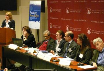 FRA Director Morten Kjaerum (3rd right) during a conference on Roma rights at Harvard University, 8 April 2013.