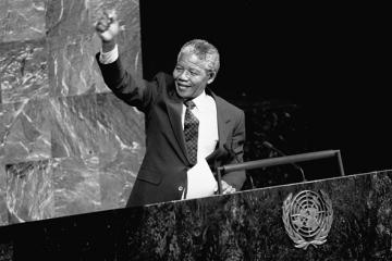 Nelson Mandela, Deputy President of the African National Congress of South Africa, addresses the Special Committee Against Apartheid in the General Assembly Hall.