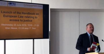 FRA Director Michael O'Flaherty speaks at the launch of the Handbook on European law relating to access to justice, Vienna, 22 June 2016.