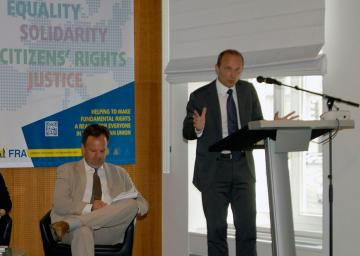 FRA Director Morten Kjaerum addresses a panel discussion on human rights and business, Vienna, 4 July 2013