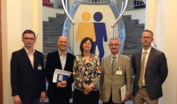 At FRA premises f.l.t.r: Wojciech Soczewica,Jorg Gebhard, Irena Lipowicz, Boguslaw Dybas, Jonas Grimheden