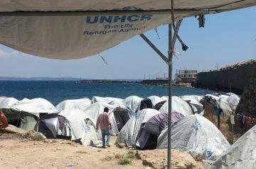 UNHCR tents housing refugees on the Greek island of Chios in June 2017.