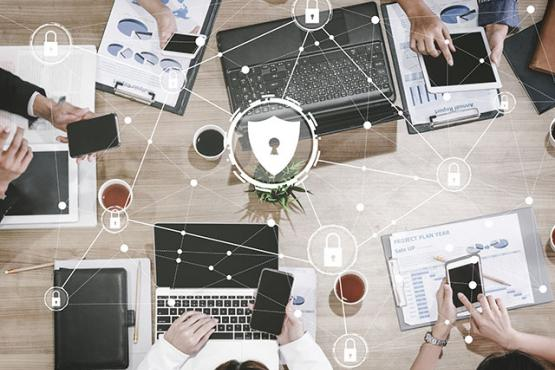 Cyber Security and Digital Data Protection with people using digital devices