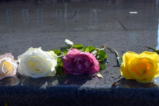 Roses on wet marble as remembrance