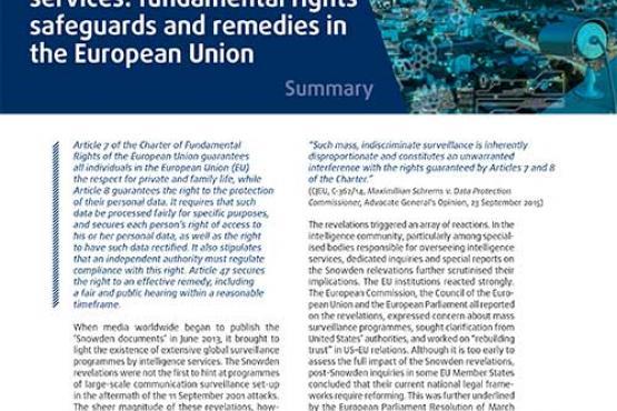 Surveillance par les services de renseignement: protection des droits fondamentaux et voies de recours dans l'Union européenne - Résumé