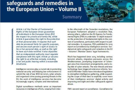 Surveillance by intelligence services: fundamental rights safeguards and remedies in the European Union – Volume II – Summary