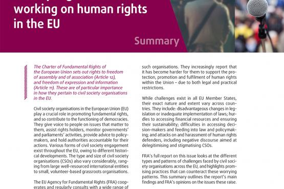 Challenges facing civil society organisations working on human rights in the EU – Summary