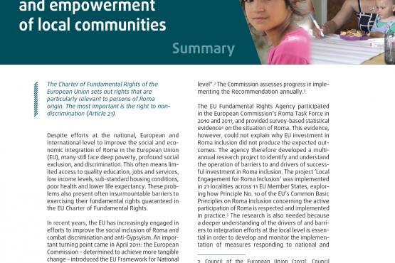 Trabalhar com os ciganos: participação e capacitação das comunidades locais - Resumo