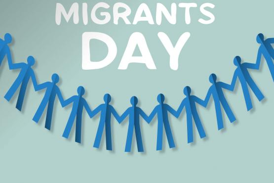 Migrants day text with string of people