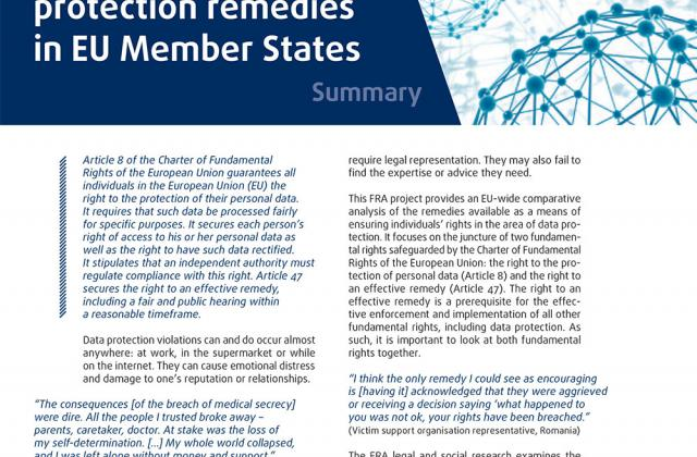 Access to data protection remedies in EU Member States – Summary