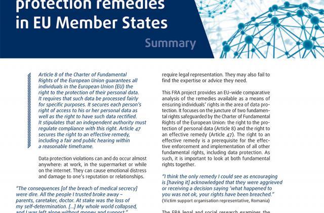 Accès aux voies de recours en matière de protection des données à caractère personnel dans les États membres de l'UE - Résumé