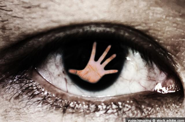 Hand outstretched in eyeball