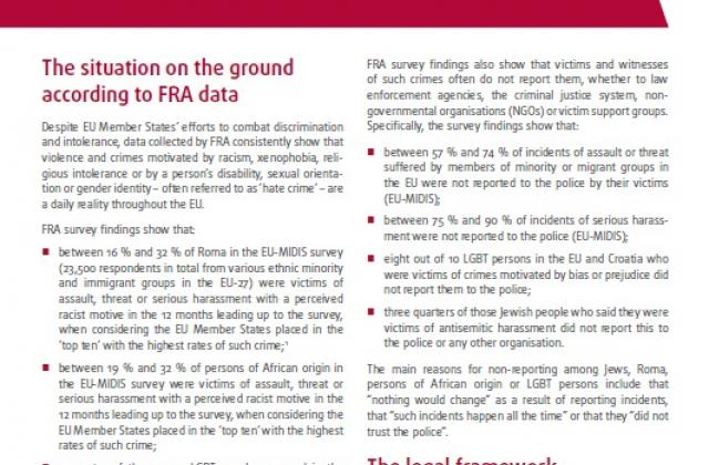 FRA brief: Crimes motivated by hatred and prejudice in the EU