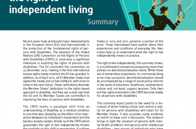 Choice and control: the right to independent living - Summary report