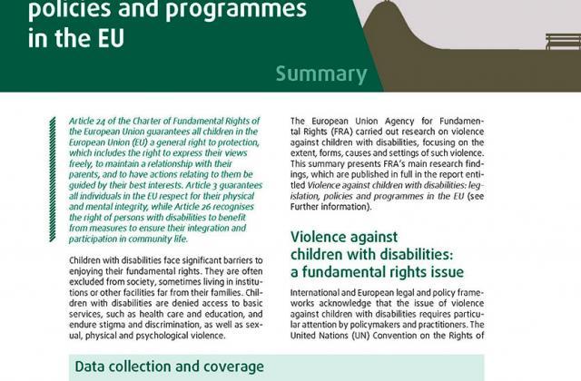 La violence à l'égard des enfants handicapés : législation, politiques et programmes dans l'UE - Résumé