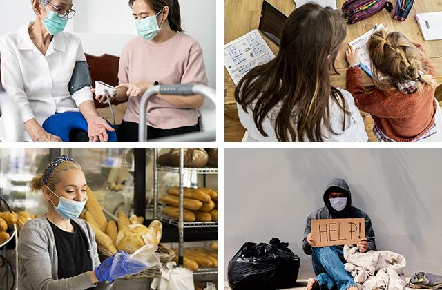 Old woman being treated, home schooling, woman with mask serving in a shop, homeless man