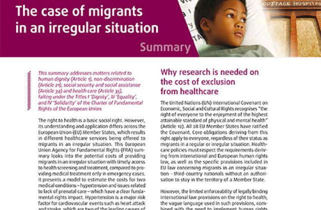 Cost of exclusion from healthcare – The case of migrants in an irregular situation – Summary