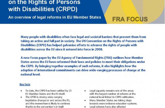Implementing the UN CRPD: An overview of legal reforms in EU Member States