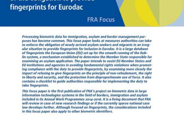 Fundamental rights implications of the obligation to provide fingerprints for Eurodac