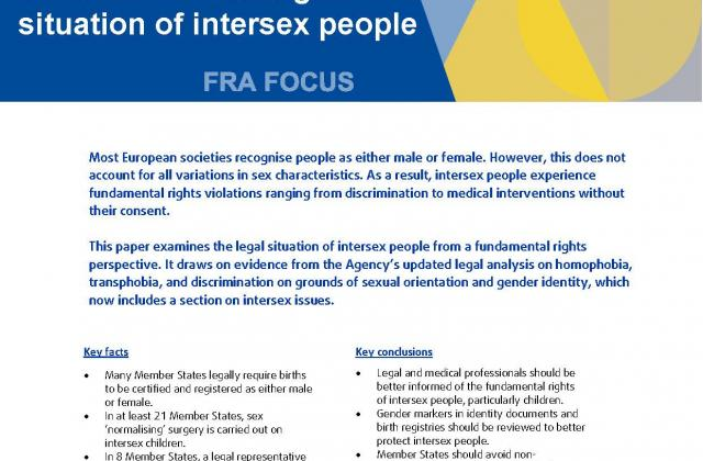 The fundamental rights situation of intersex people