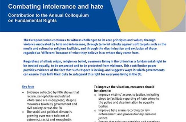 Promoting respect and diversity - Combating intolerance and hate