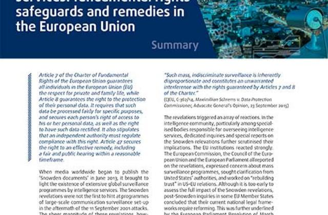Surveillance by intelligence services: fundamental rights safeguards and remedies in the EU - Summary