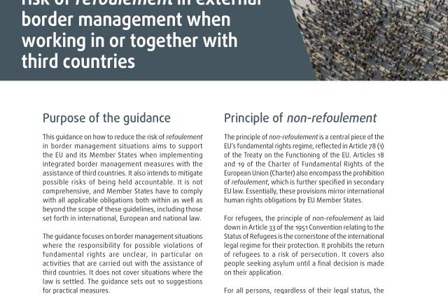 Guidance on how to reduce the risk of refoulement in external border management when working in or together with third countries