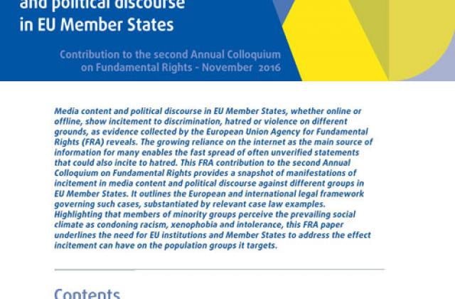Incitement in media content and political discourse in Member States of the European Union