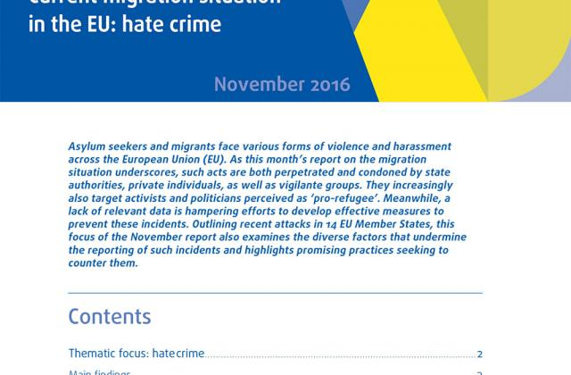 Current migration situation in the EU: hate crime