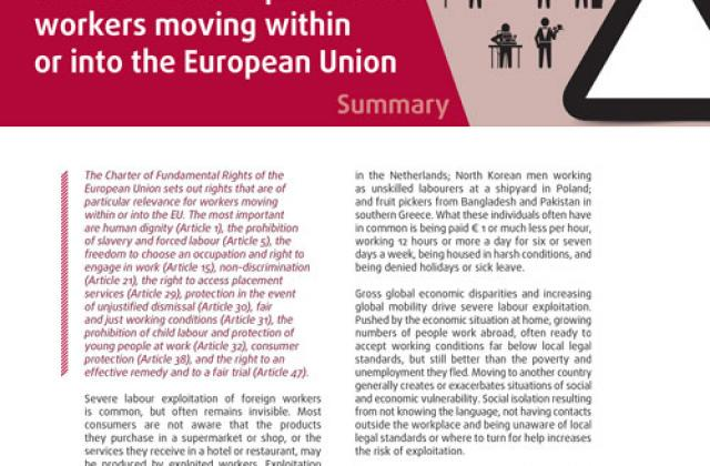 Severe labour exploitation: workers moving within or into the European Union - Summary