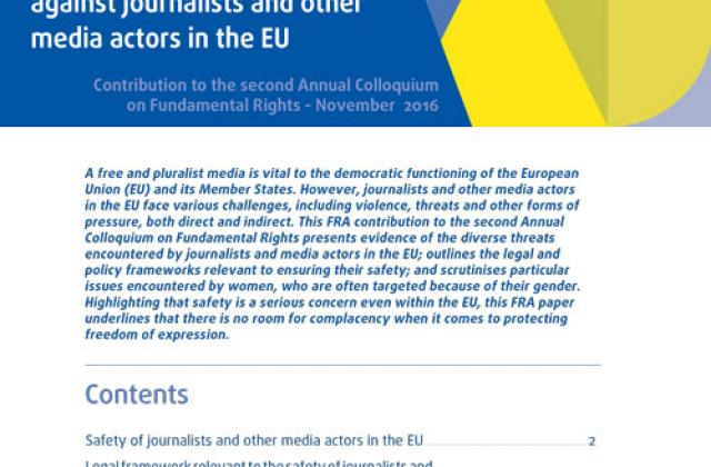 Violence, threats and pressures against journalists and other media actors in the European Union