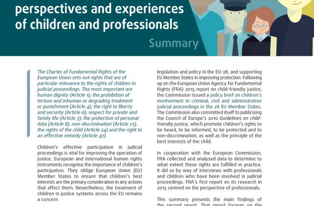 Child-friendly justice – perspectives and experiences of children and professionals - Summary