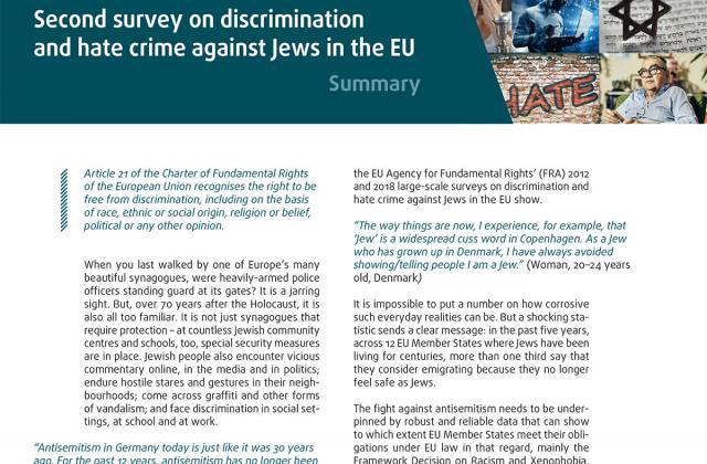 Experiences and perceptions of antisemitism - Second survey on discrimination and hate crime against Jews in the EU - Summary