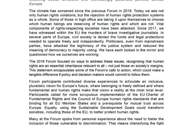 Fundamental Rights Forum 2018  - Chair's Statement