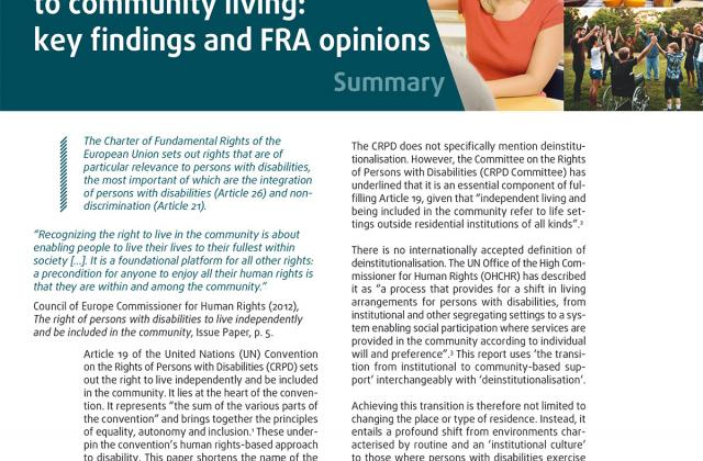 From institutions to community living: key findings and FRA opinions