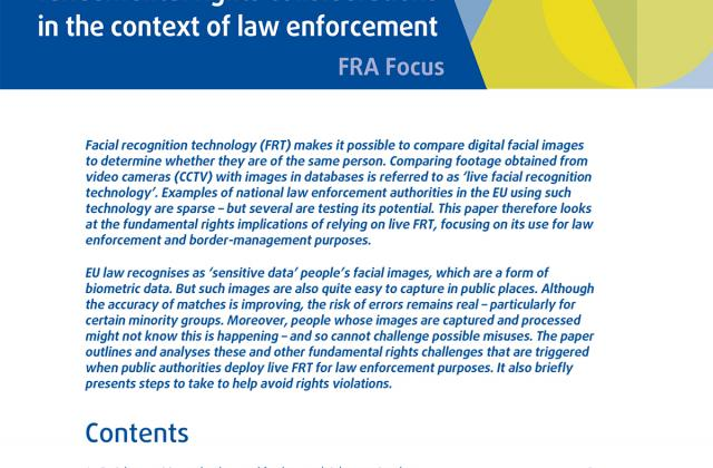 Facial recognition technology: fundamental rights considerations in the context of law enforcement