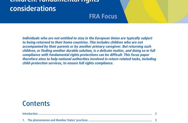 Returning unaccompanied children: fundamental rights considerations