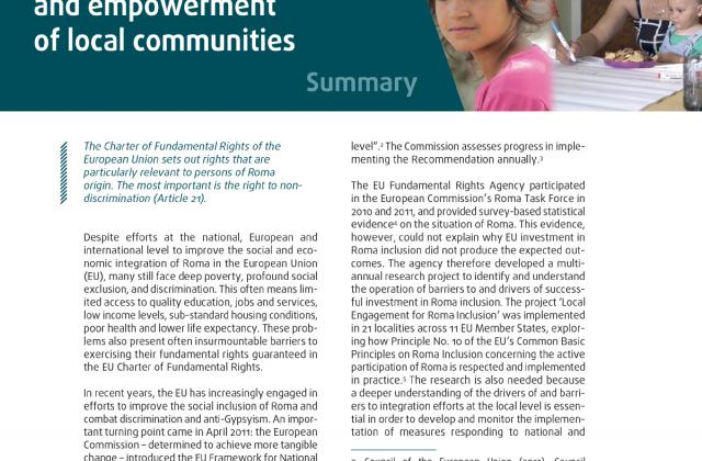 Δουλεύοντας με τους Ρομά: Συμμετοχή και ενδυνάμωση των τοπικών κοινοτήτων - Σύνοψη