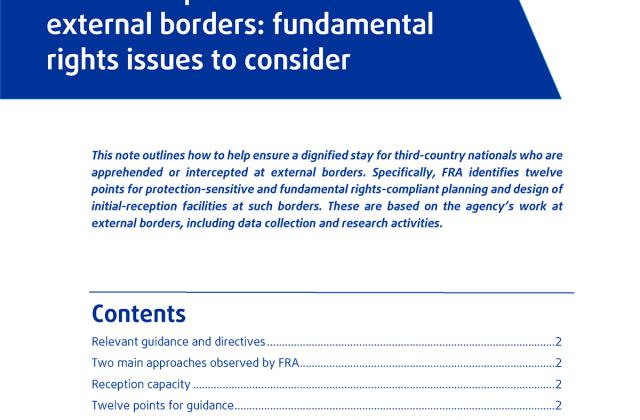Initial-reception facilities at external borders: fundamental rights issues to consider