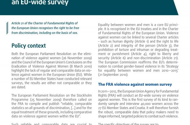 Factsheet: Gender-based violence against women – an EU-wide survey