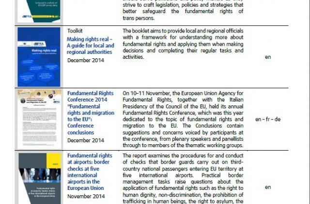 Publications de la FRA en 2014