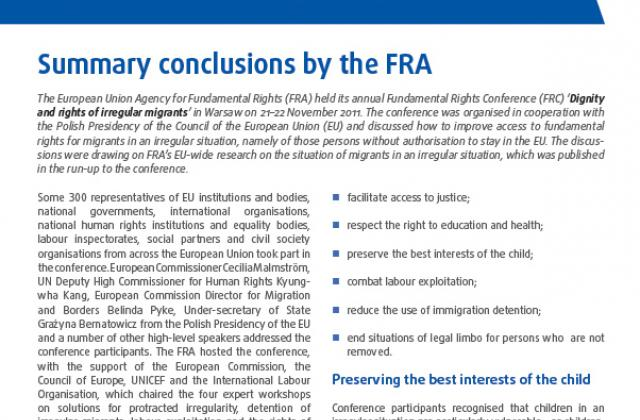 Fundamental Rights Conference 2011 - Summary conclusions by the FRA