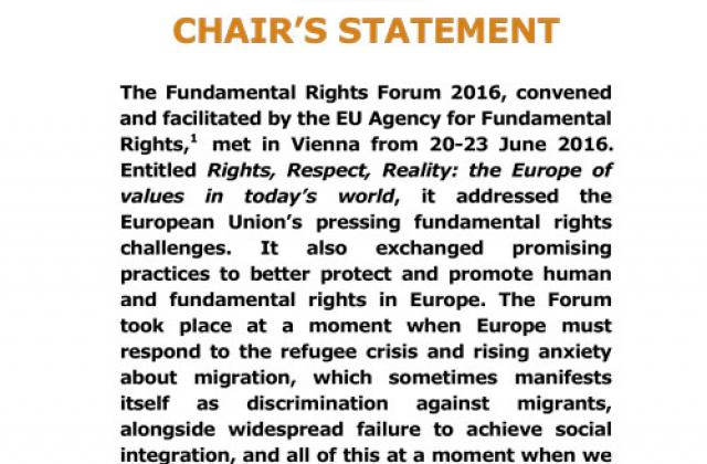 Fundamental Rights Forum - Chair's Statement