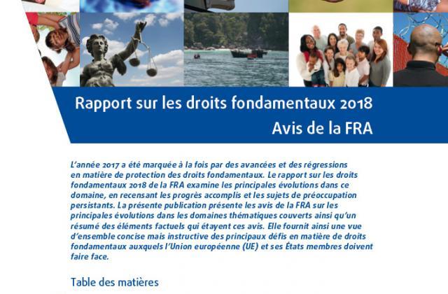 Rapport sur les droits fondamentaux 2018 – Avis de la FRA