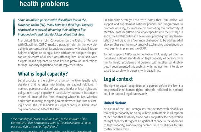 Legal capacity of persons with intellectual disabilities and persons with mental health problems - Factsheet