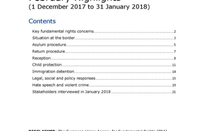 Periodic data collection on the migration situation in the EU - February 2018 Highlights