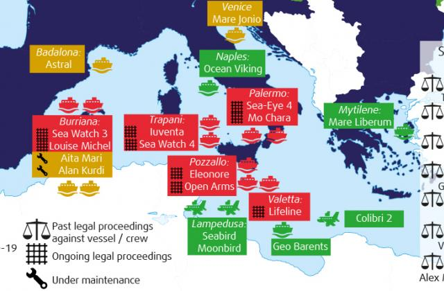 Map of Search and Rescue in the Mediterranean up to June 2021